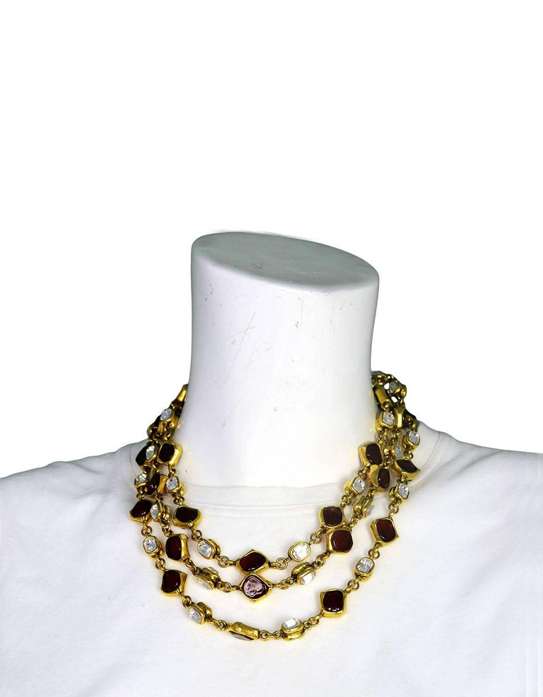 Chanel Vintage '80s Three Strand Red Gripoix & Strass Crystal Necklace For Sale 3