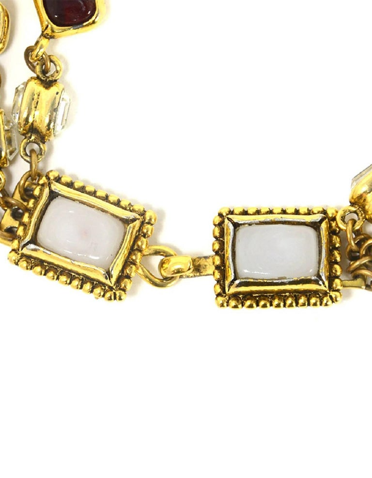 Women's Chanel Vintage '80s Three Strand Red Gripoix & Strass Crystal Necklace For Sale
