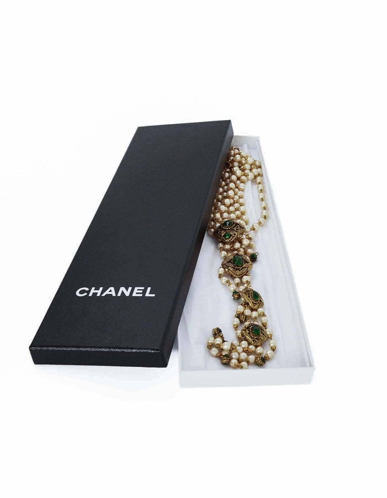 CHANEL '70s RARE 4 Strand Faux Pearl Necklace w/ Dripping Pearls & Green Gripoix 5