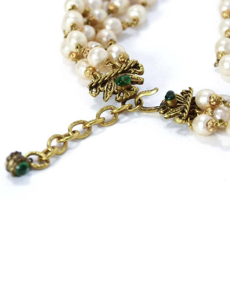 CHANEL '70s RARE 4 Strand Faux Pearl Necklace w/ Dripping Pearls & Green Gripoix 3