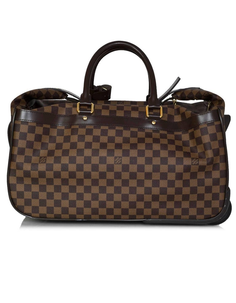 59d02c20fd990 Black Louis Vuitton Damier Eole 50 Weekend Rolling Luggage Travel Bag For  Sale