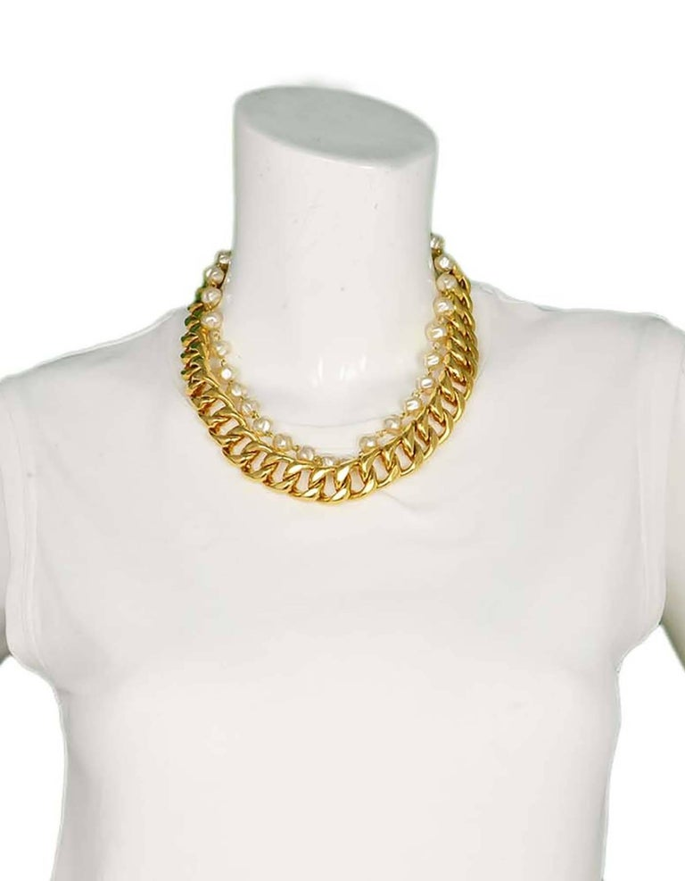 Chanel Vintage '88 Gold Chain Link & Small Pearl Choker Necklace 5