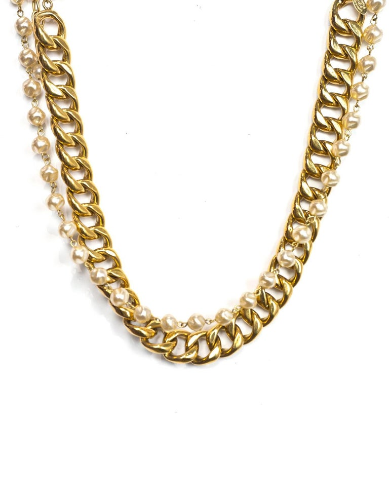 Chanel Vintage '88 Gold Chain Link & Small Pearl Choker Necklace 2
