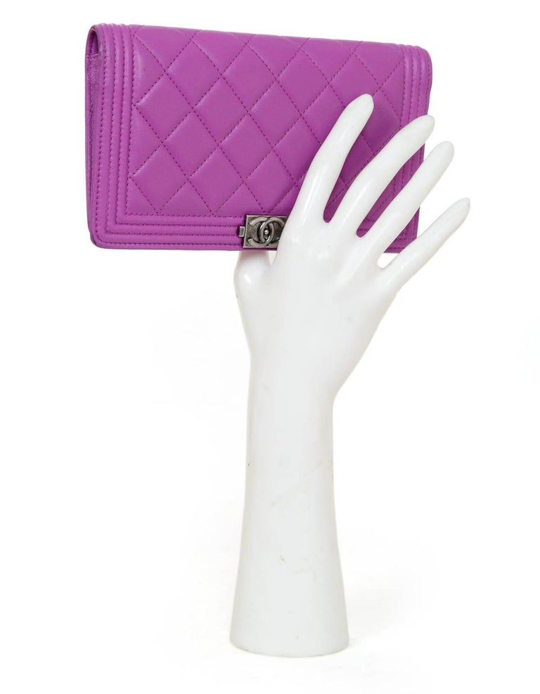 aada813d589b Chanel Fuschia Lambskin Boy Yen Wallet Made In: Italy Color: Fuschia  Materials: Lambskin