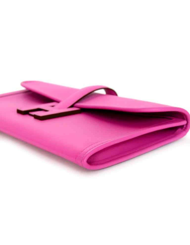 Women's Hermes Magnolia Pink Swift Leather Jige Elan 29 H Clutch Bag, 2018  For Sale