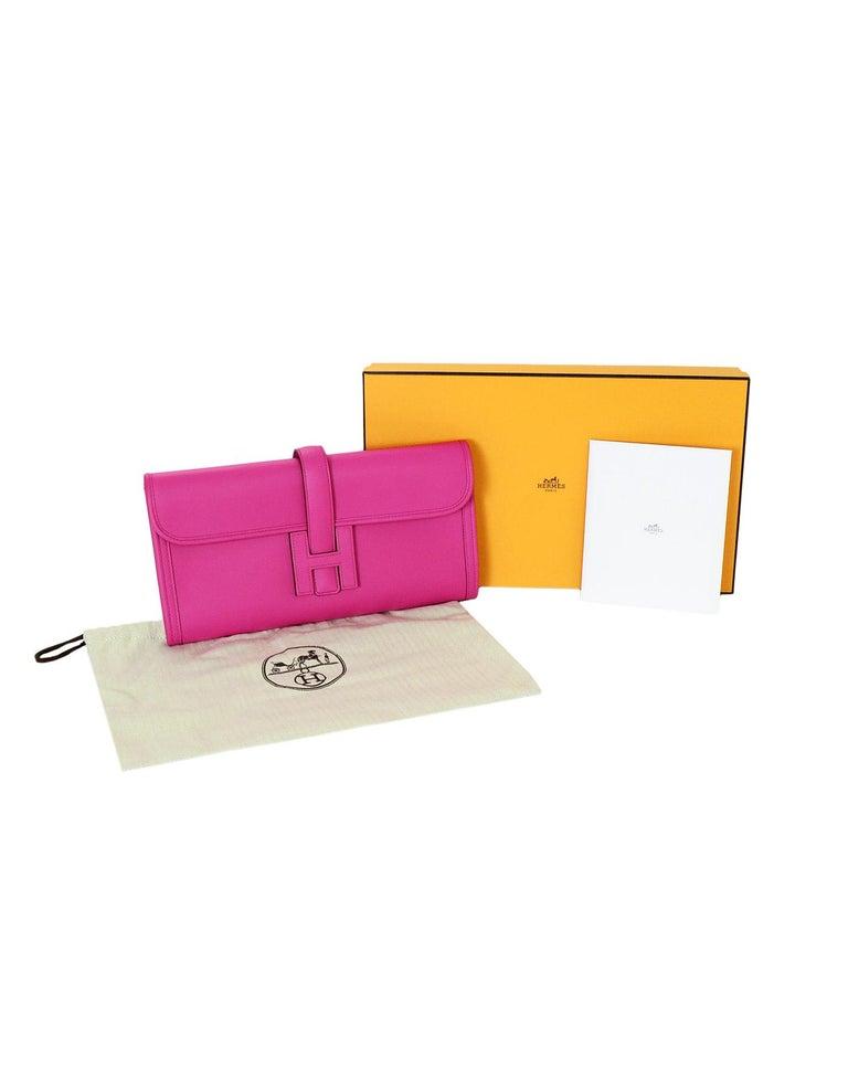 Hermes Magnolia Pink Swift Leather Jige Elan 29 H Clutch Bag, 2018  For Sale 5