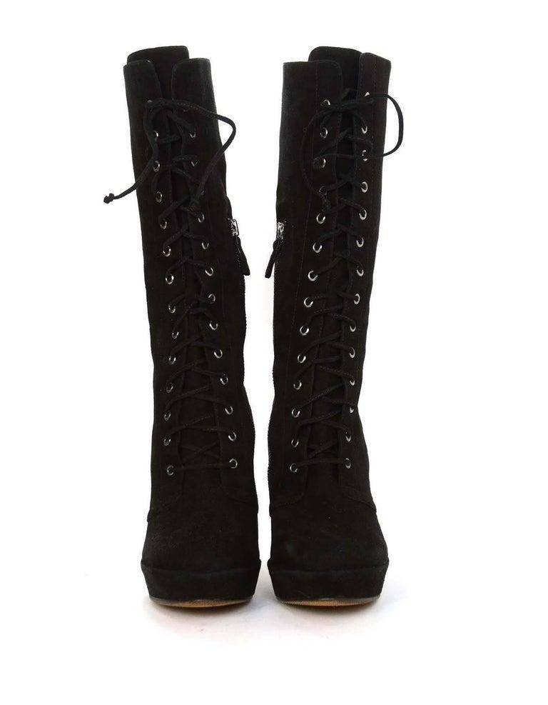ALEXANDRE BIRMAN Black Suede Lace Up Boots sz 10.5 4