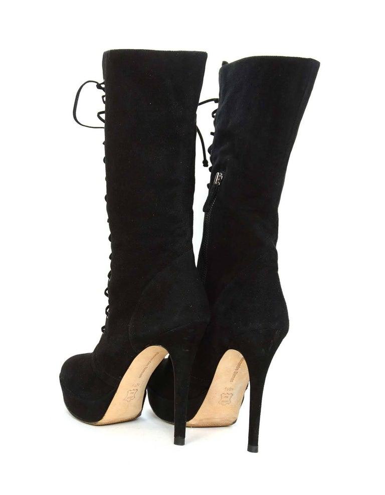 ALEXANDRE BIRMAN Black Suede Lace Up Boots sz 10.5 6