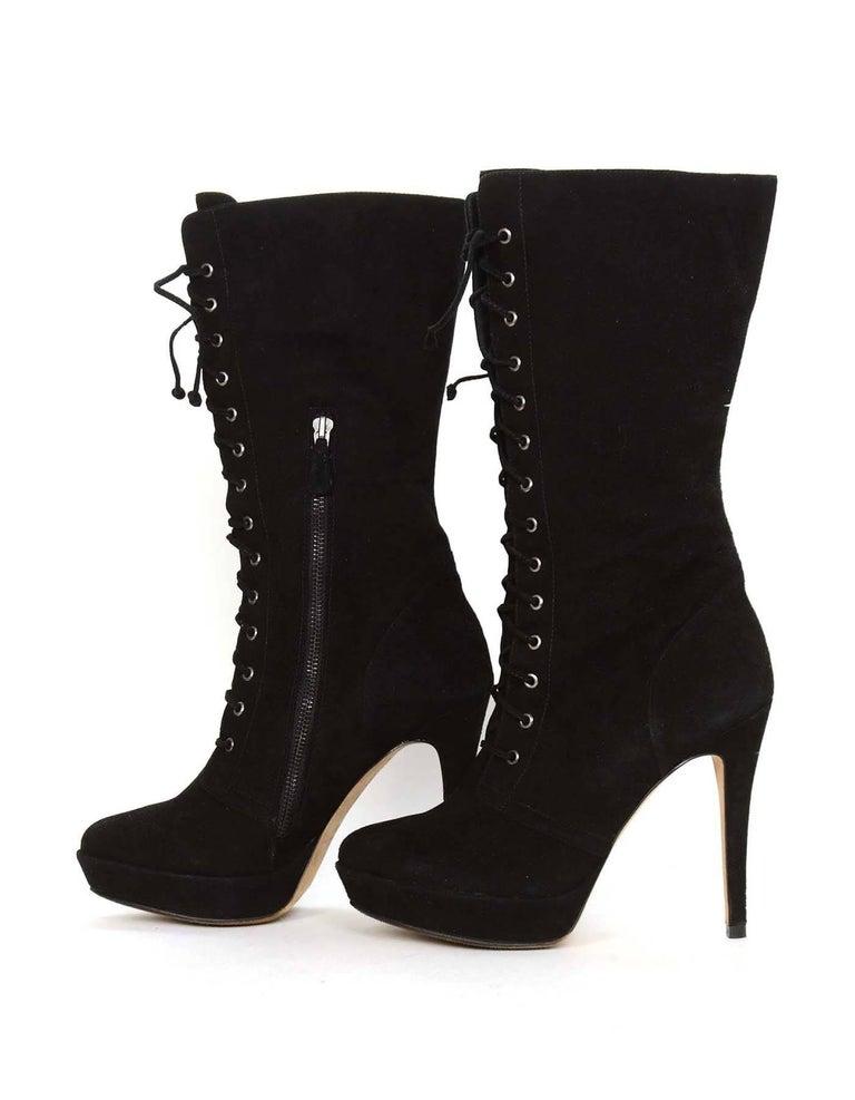 ALEXANDRE BIRMAN Black Suede Lace Up Boots sz 10.5 3