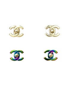Chanel Gold / Iridescent Convertible CC Twist-lock Pierced Earrings, 2018