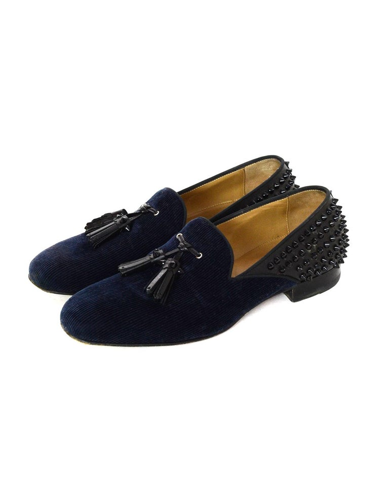 56ad75e6384 Christian Louboutin Navy Corduroy Leather Loafers With Black Tassels and  Spikes. These shoes are a