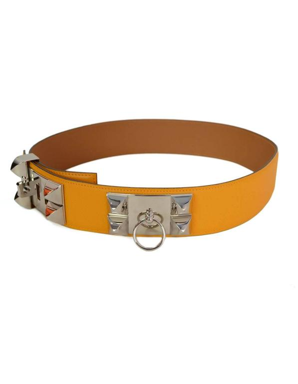 HERMES 2012 Yellow Epsom Leather Collier de Chien CDC Belt sz 75 rt $2,350 2
