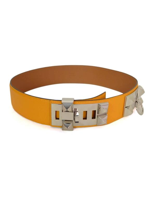 HERMES 2012 Yellow Epsom Leather Collier de Chien CDC Belt sz 75 rt $2,350 3