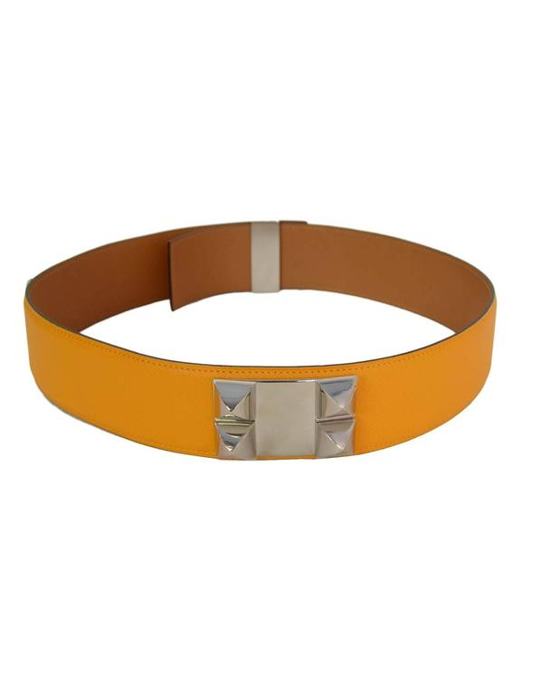 HERMES 2012 Yellow Epsom Leather Collier de Chien CDC Belt sz 75 rt $2,350 4