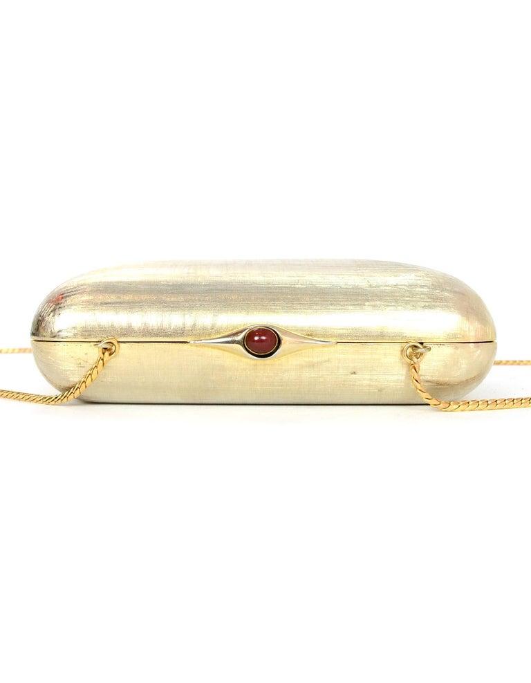 Women's Judith Leiber Gold Minaudiere Clutch Bag w. Stone Closure & Chain Strap  For Sale