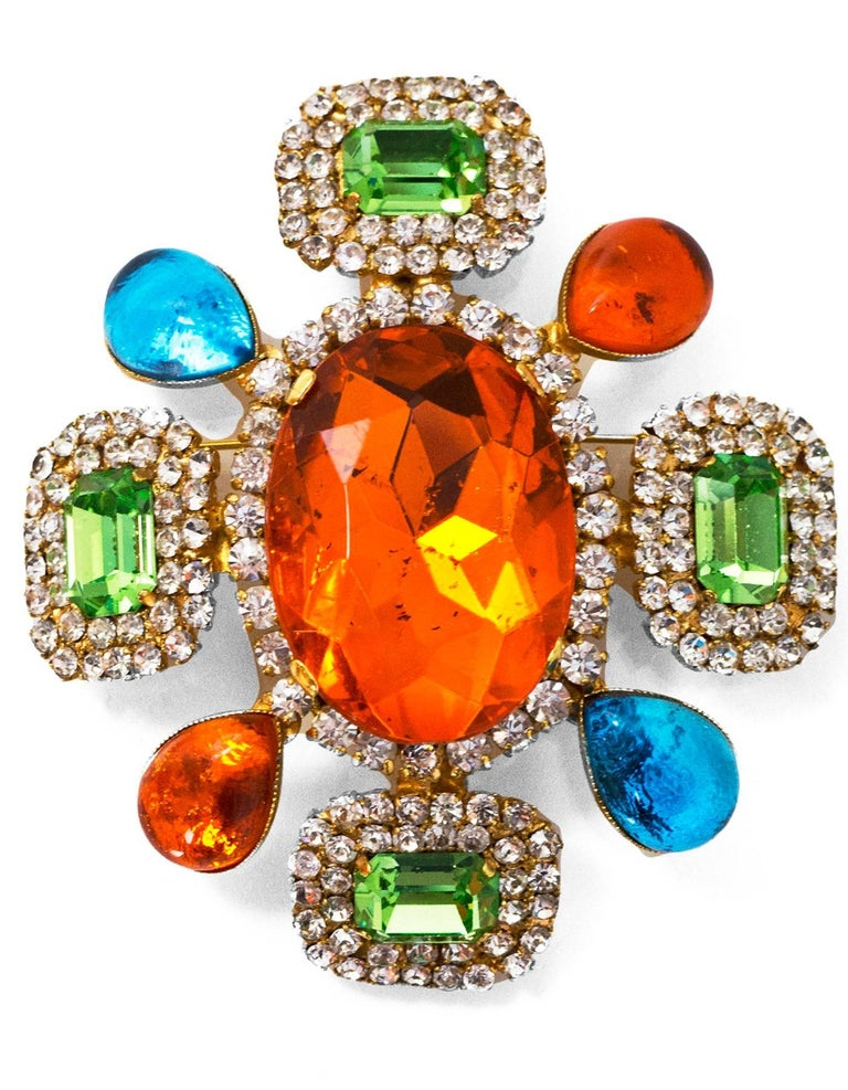 Chanel Multi-Colored Crystal & Gripoix Brooch