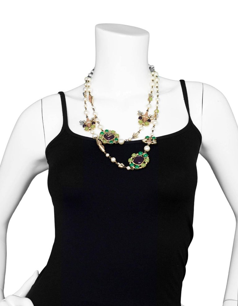 Chanel Pearl & Multi-Colored Glass Bead Long Necklace 3
