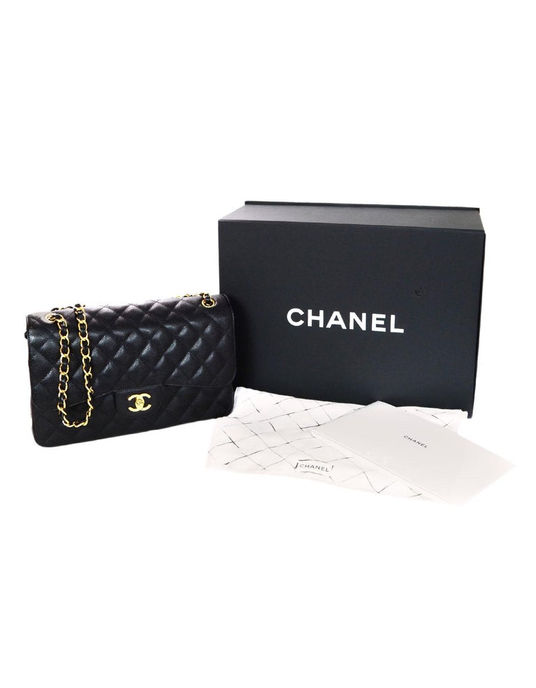 Chanel Black Caviar Leather Quilted Jumbo Double Flap Classic Bag rt. $6,200 7