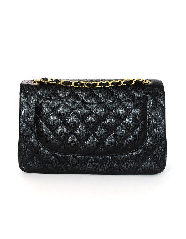 Chanel Black Caviar Leather Quilted Jumbo Double Flap Classic Bag rt. $6,200 In Excellent Condition In New York, NY