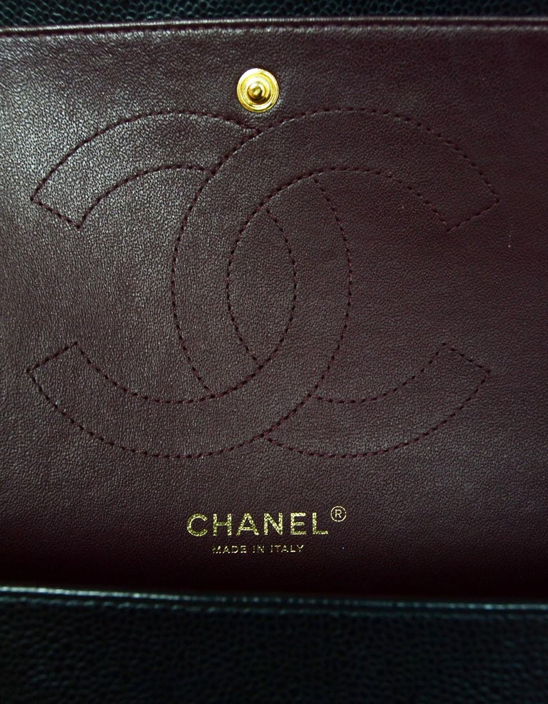 Women's  Chanel Black Caviar Leather Quilted Jumbo Double Flap Classic Bag rt. $6,200