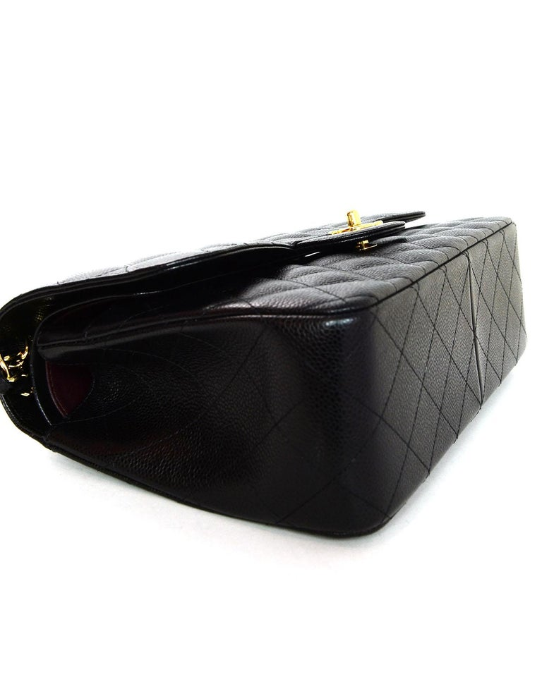 Chanel Black Caviar Leather Quilted Jumbo Double Flap Classic Bag rt. $6,200 1