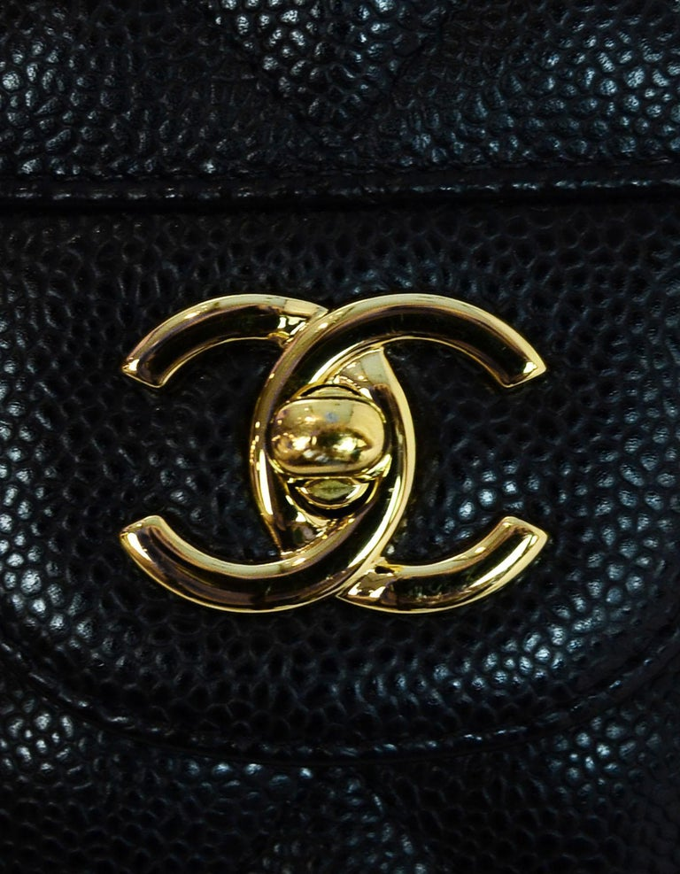 Chanel Black Caviar Leather Quilted Jumbo Double Flap Classic Bag rt. $6,200 4