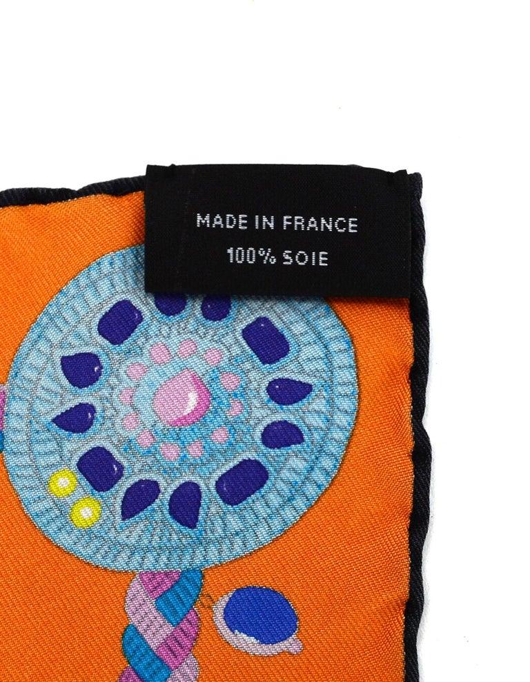 Women's Hermes 2018 Orange/Black/Blue Coupe De Gala Wash Silk Scarf 90cm w/ Box rt. $430 For Sale