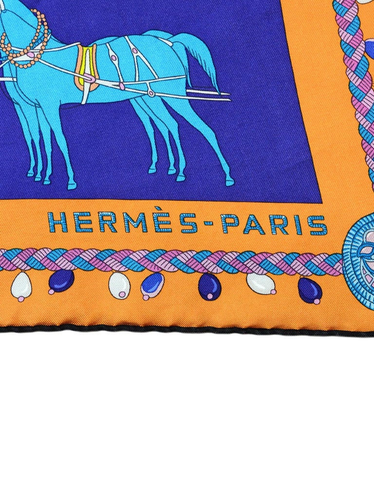 Hermes 2018 Orange/Black/Blue Coupe De Gala Wash Silk Scarf 90cm w/ Box rt. $430 In Excellent Condition For Sale In New York, NY