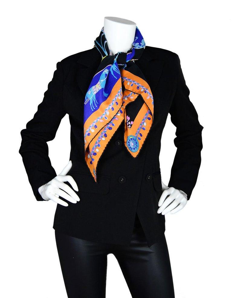 Purple Hermes 2018 Orange/Black/Blue Coupe De Gala Wash Silk Scarf 90cm w/ Box rt. $430 For Sale