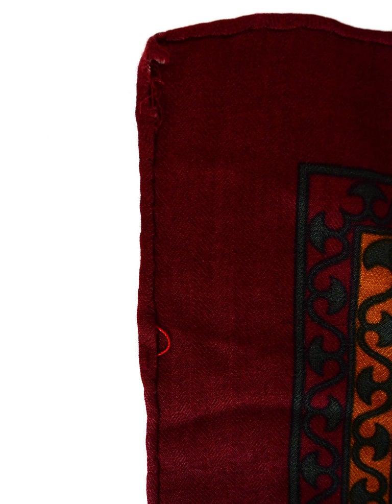 Women's Hermes Maroon/Green/Mustard Silk/Cashmere Scarf 90cm For Sale