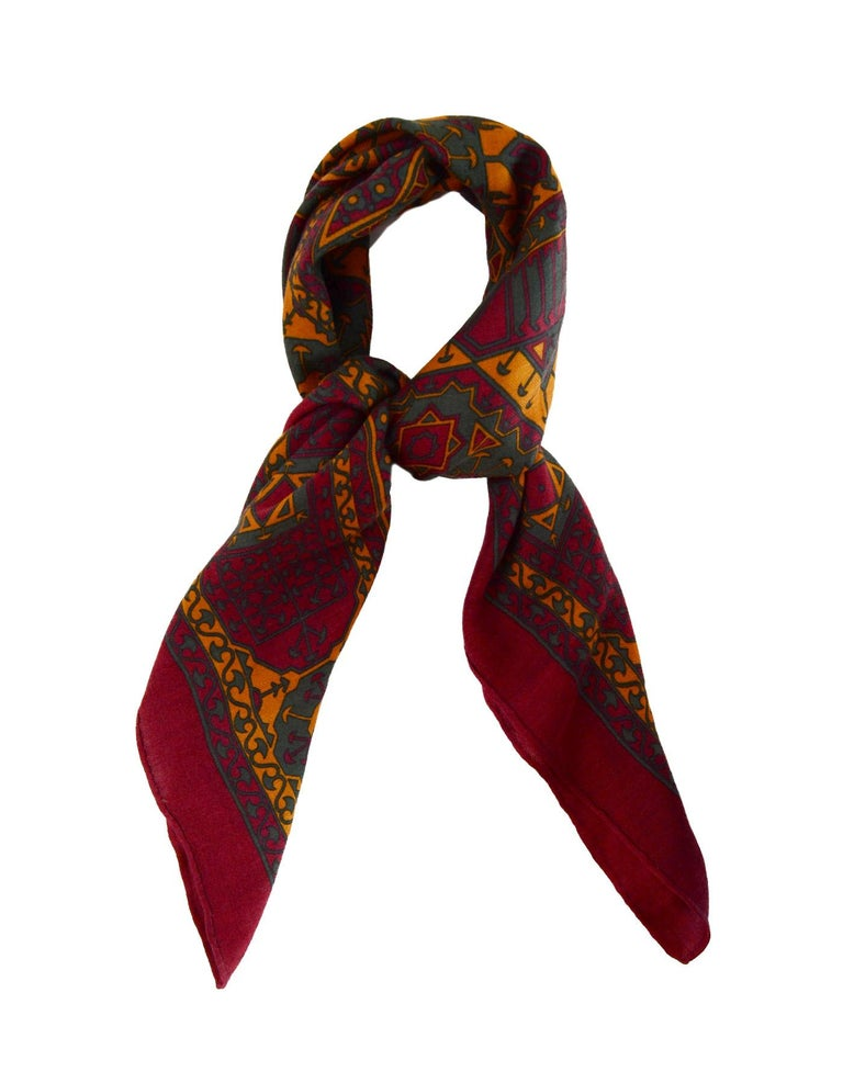 Hermes Maroon/Green/Mustard Silk/Cashmere Scarf 90cm  Made In: France Color: Maroon, green, mustard Materials:  65% cashmere, 35% silk Overall Condition: Very good pre-owned condition with exception of some loose stitches at seam  Measurements:  33