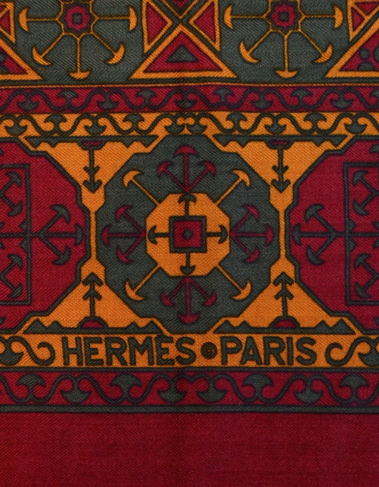 Hermes Maroon/Green/Mustard Silk/Cashmere Scarf 90cm In Excellent Condition For Sale In New York, NY