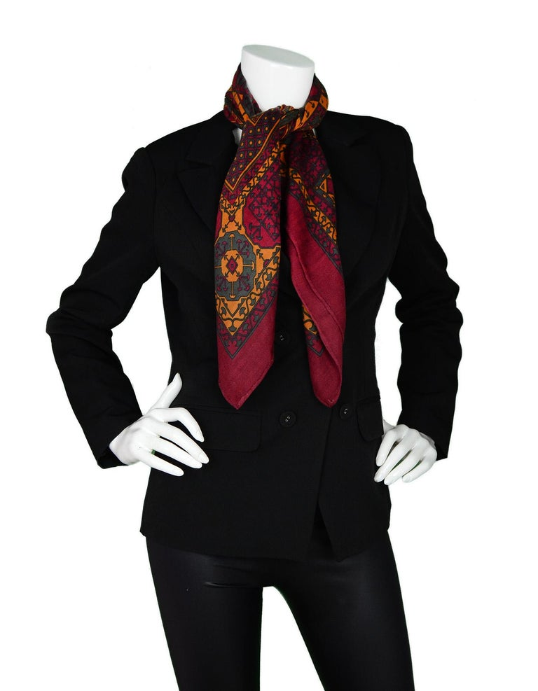 Brown Hermes Maroon/Green/Mustard Silk/Cashmere Scarf 90cm For Sale
