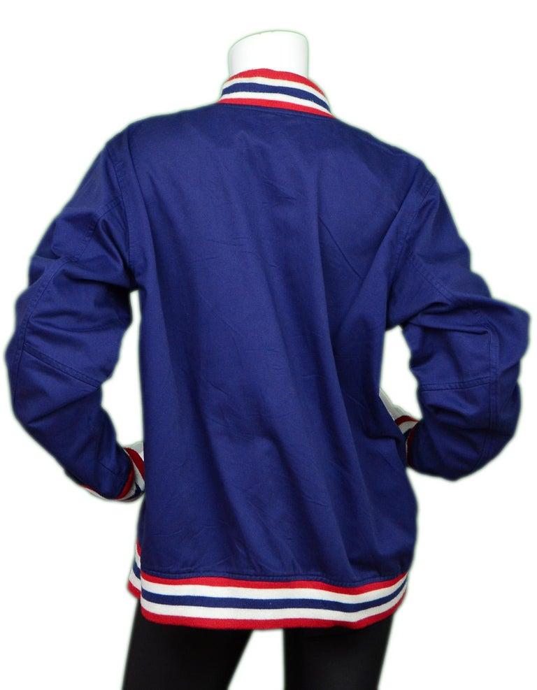 Purple Supreme Unisex Navy Cotton Blend Logo Varsity Jacket Sz Men's L  For Sale