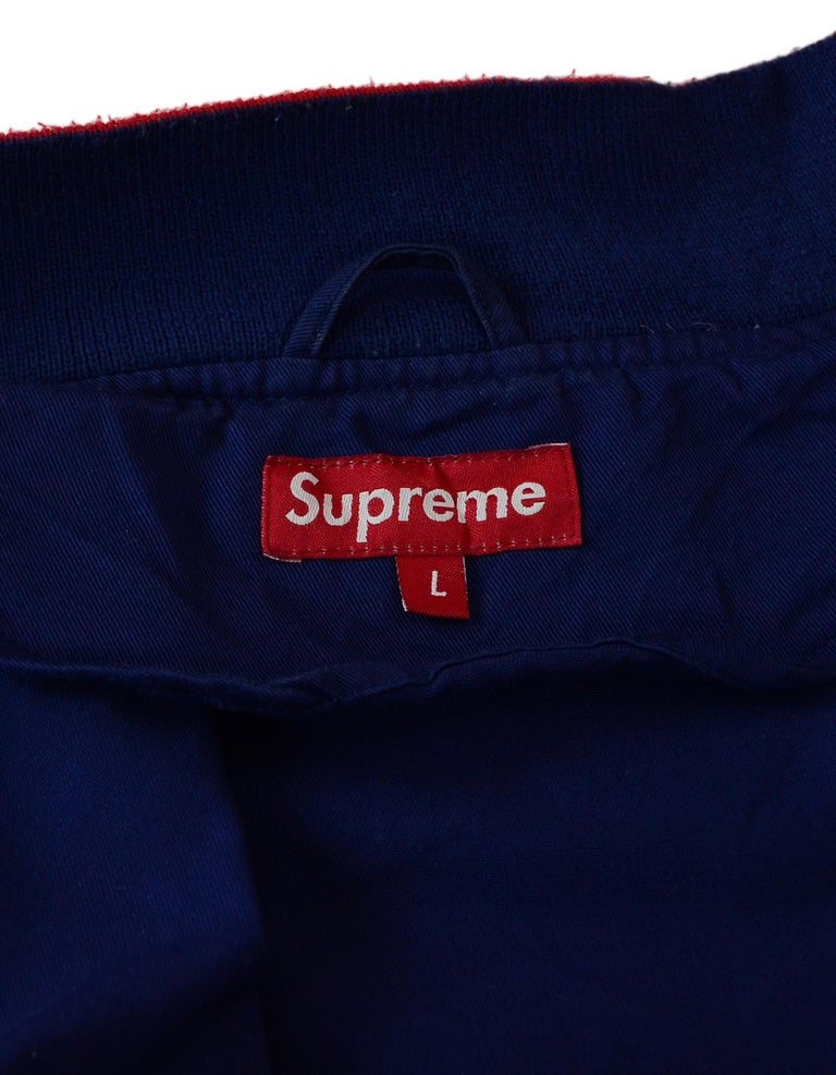Supreme Unisex Navy Cotton Blend Logo Varsity Jacket Sz Men's L  In Excellent Condition For Sale In New York, NY