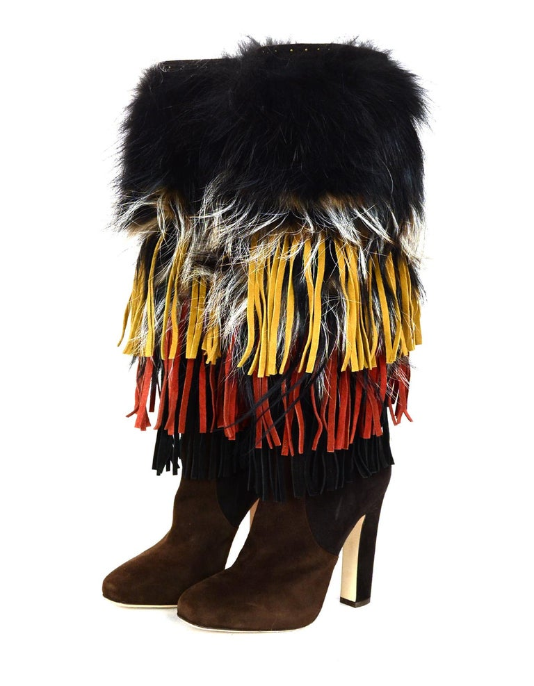 Jimmy Choo Brown Suede Dalia Boots W/ Fox Fur & Fringe Sz 38.5  Made In: Italy Color: Brown Materials: Suede, fox fur and fringe Closure/Opening:  Pull on Overall Condition: Excellent condition with exception of minor wear in suede at the back of