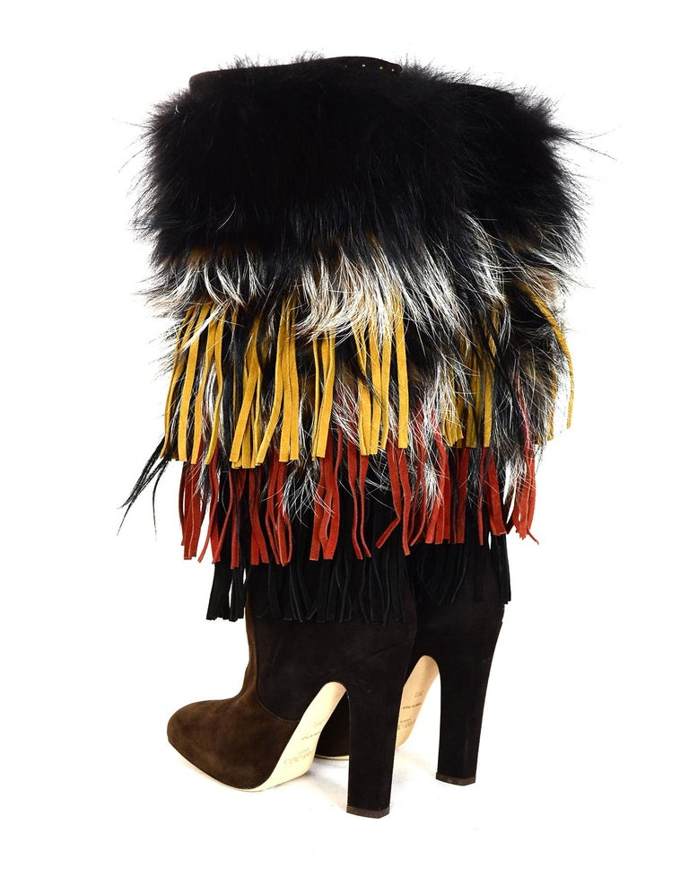 Jimmy Choo Brown Suede Dalia Boots W/ Fox Fur & Fringe Sz 38.5 rt. $3,495 In Excellent Condition For Sale In New York, NY