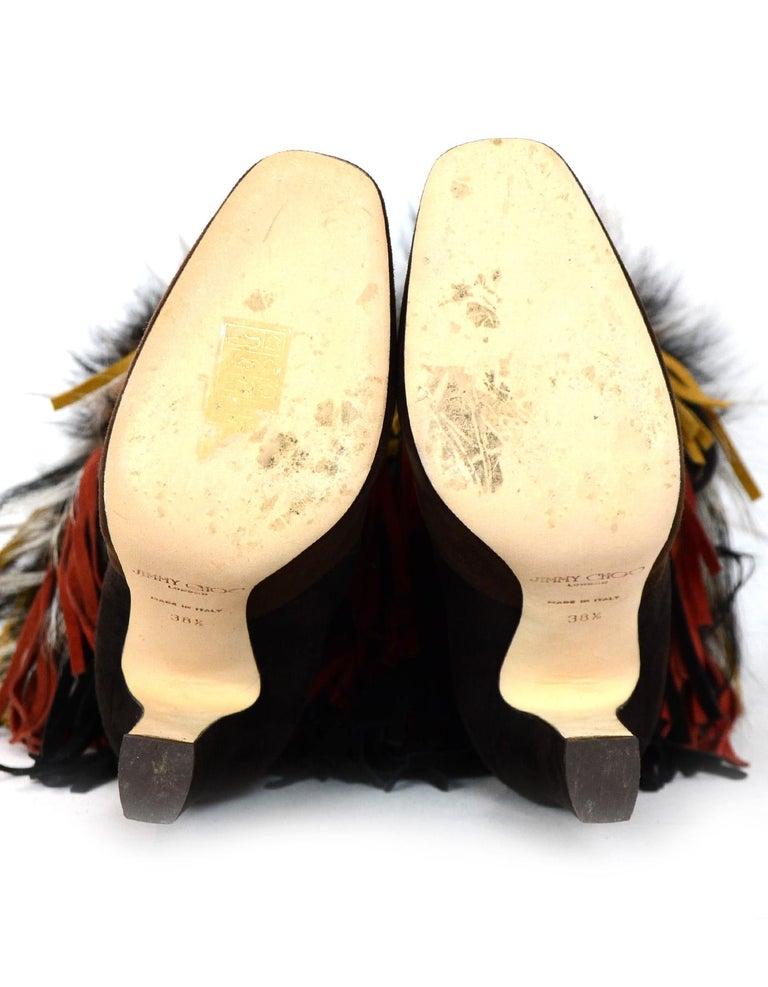 Jimmy Choo Brown Suede Dalia Boots W/ Fox Fur & Fringe Sz 38.5 rt. $3,495 For Sale 1