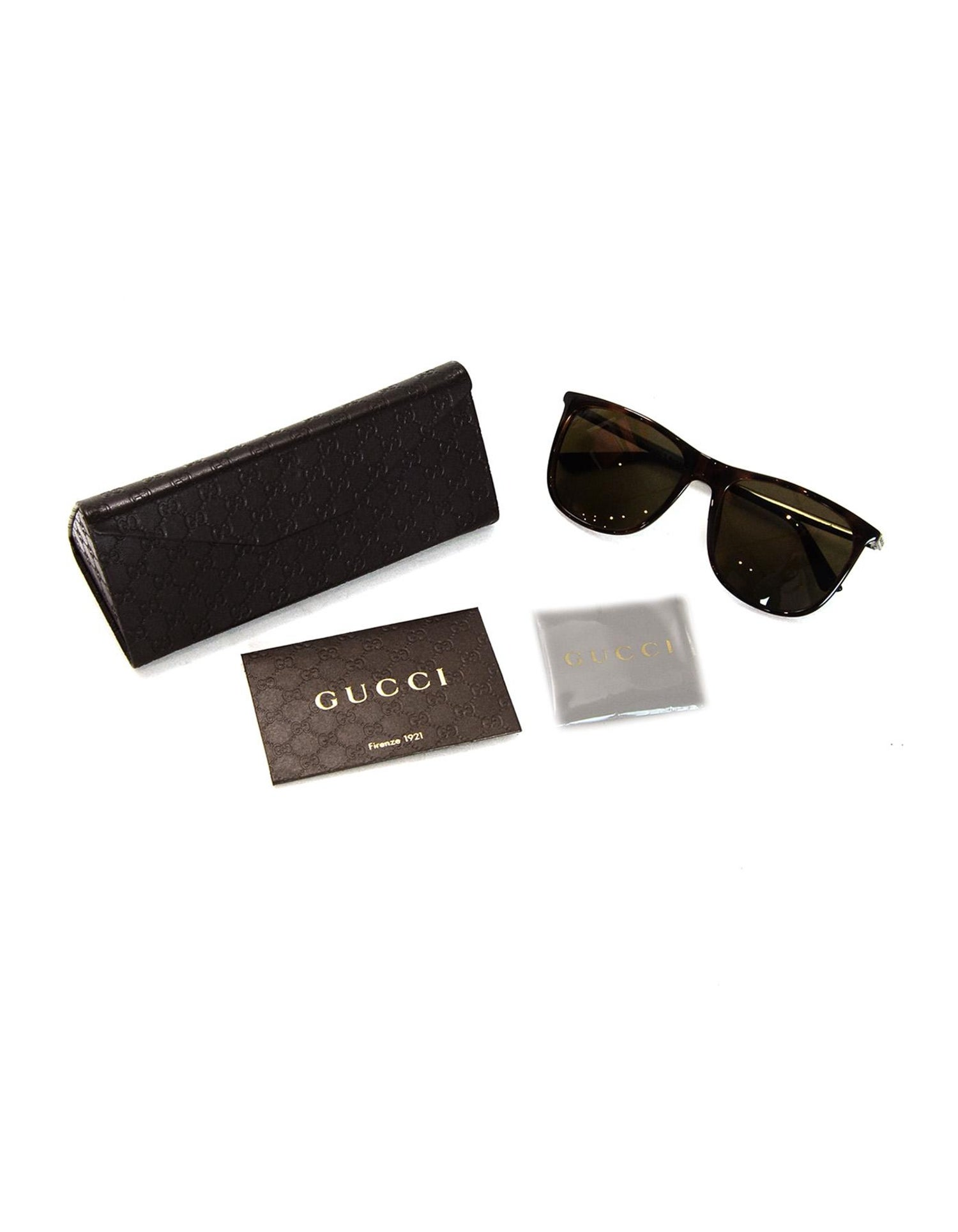 c03d1060fa3cd Gucci Brown Square-Frame Acetate Sunglasses W  Metal Red Green Arm Web For  Sale at 1stdibs