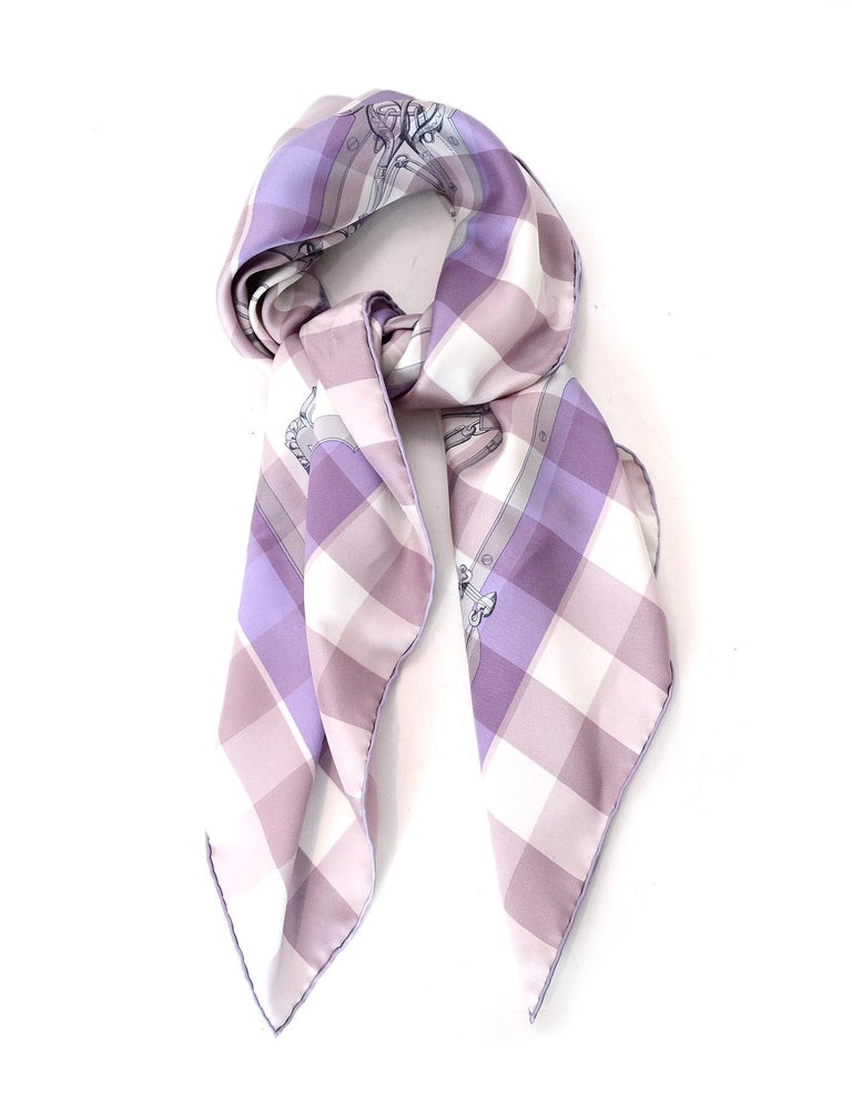 Hermes Lavender/Pink Check Mors d' Gourmettes Silk Scarf W/ Box  Made In: France Color: Lavender and pink Materials: 100% silk Overall Condition: Very good pre-owned condition with the exception of a couple of marks in the fabric. There is also a