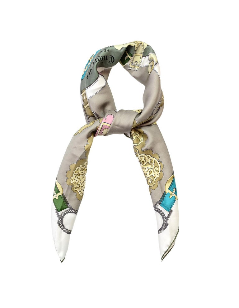 Hermes Grey/Multi-Color Cuivreries Buckle Print 90CM Silk Scarf W/ Box  Made In: France Color: Grey and multi-color Materials: 100% silk Overall Condition: Excellent pre-owned condition Estimated Retail: $395 + tax Includes: Hermes