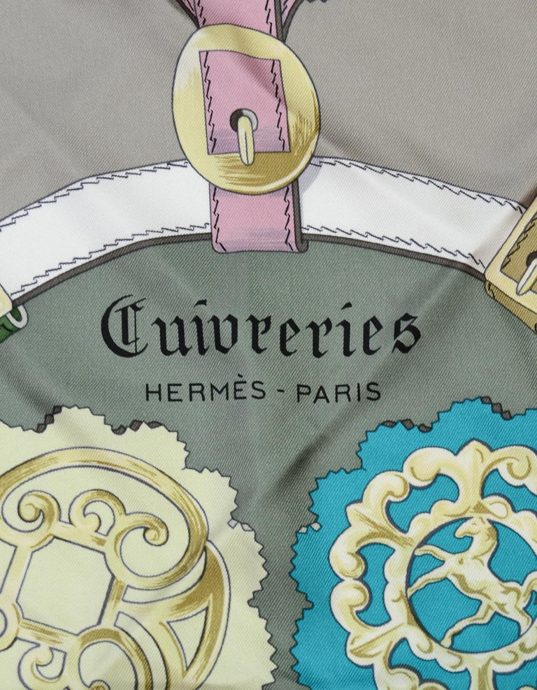 Hermes Grey/Multi-Color Cuivreries Buckle Print 90CM Silk Scarf W/ Box In Excellent Condition For Sale In New York, NY