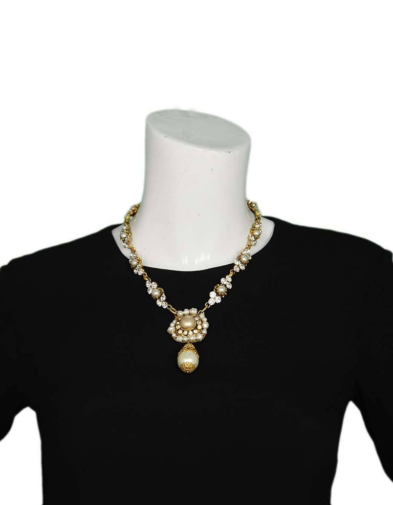Chanel Vintage 50's-60's Pearl & Strass Crystal Necklace 3