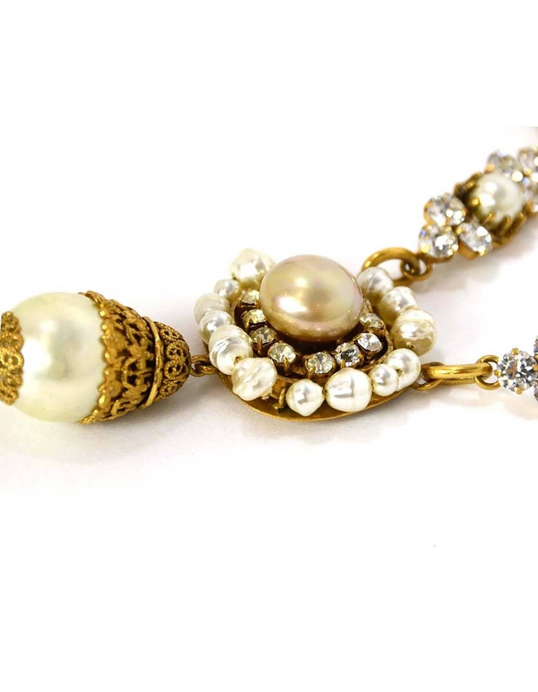 Chanel Vintage 50's-60's Pearl & Strass Crystal Necklace 4