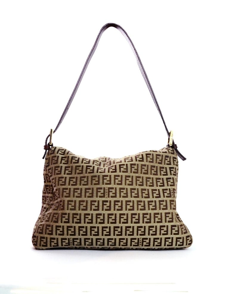 Fendi Brown Canvas Monogram Zucca Mama Baguette Bag W Ff Flap In Excellent Condition For