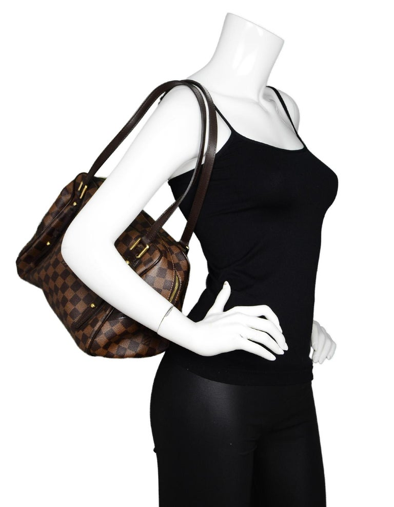 f13e369bec6 Louis Vuitton LV Brown Coated Canvas Damier Ebene Rivington PM Shoulder Bag  Made In  France