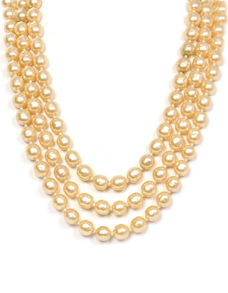 Chanel Vintage '50s-'60s Three Strand Pearl Necklace 2