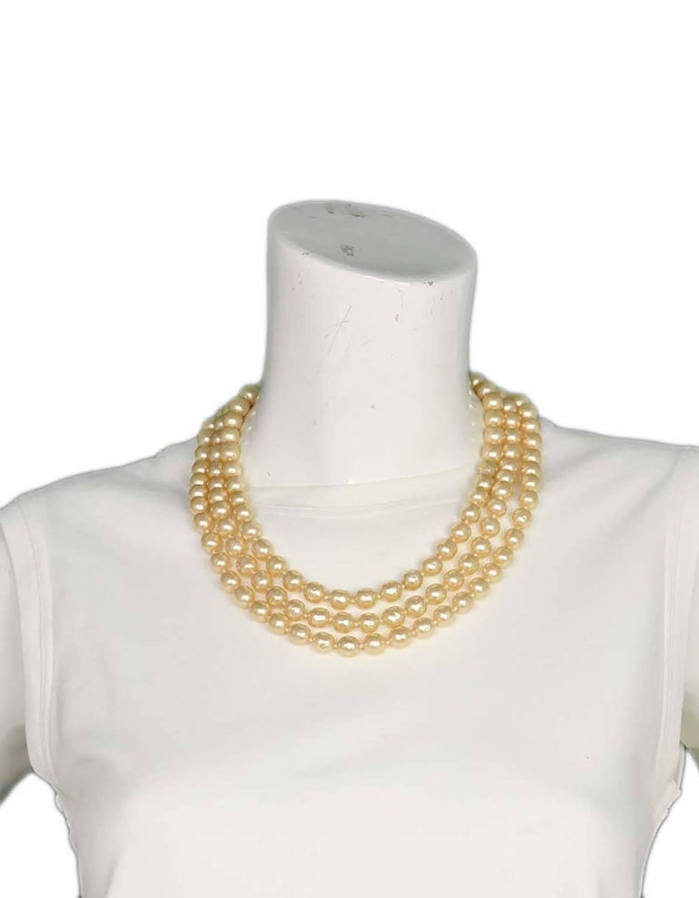 Chanel Vintage '50s-'60s Three Strand Pearl Necklace 6