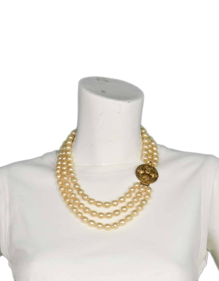 Chanel Vintage '50s-'60s Three Strand Pearl Necklace 7