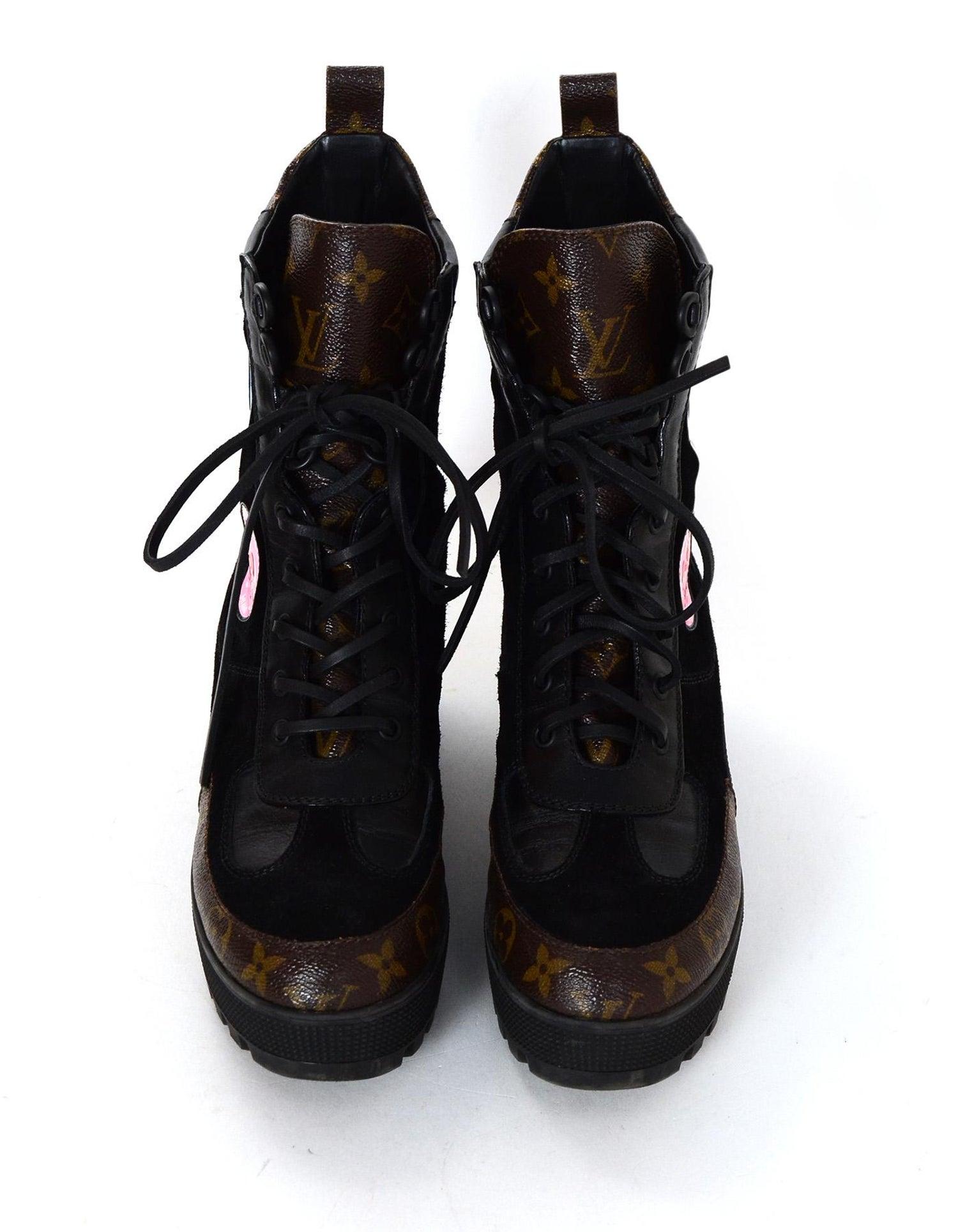 ac2aaebce787 Louis Vuitton Monogram Suede Leather Checkpoint Platform Desert Boots Sz  39.5 For Sale at 1stdibs